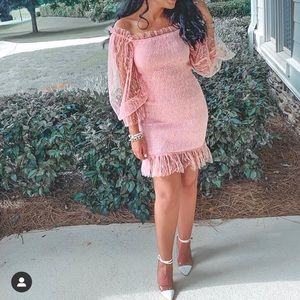 Lace ruched off shoulder puff sleeve dress